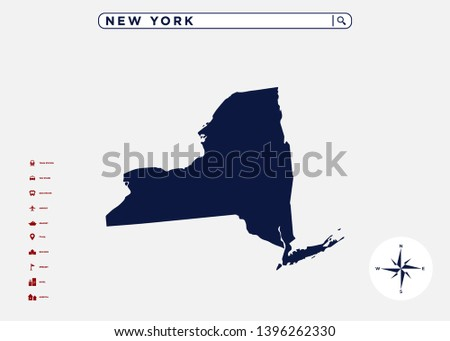 New York State Map United States Stock Vector (Royalty Free ...