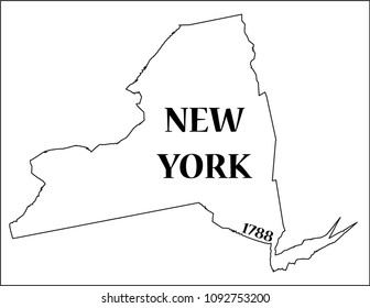 A New York state outline with the date of statehood isolated on a white background