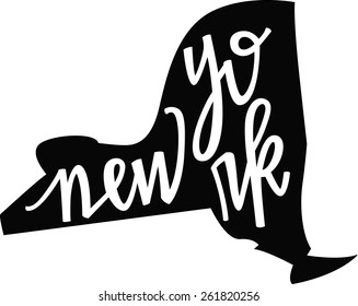 New York state outline and hand-lettering