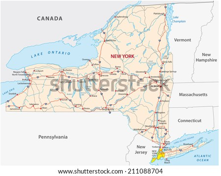 New York State Road Map Stock Vector (Royalty Free) 211088704 ...