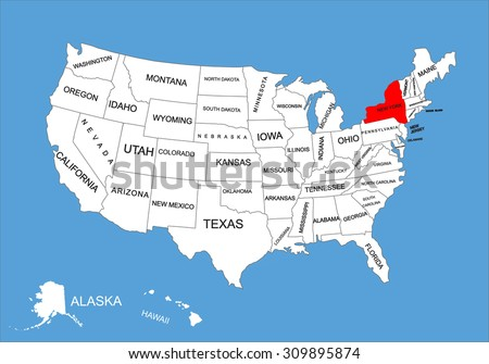 New York On Map Of Us.New York State Usa Vector Map Stock Vector Royalty Free 309895874
