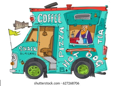 New York street food kiosk. Traditional fresh snacks and coffee. Urban lifestyle.
