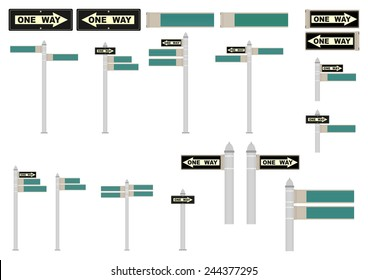 New York street signs. Space for any text. Vector illustration without gradients.