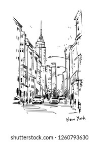 New York street, vector sketch
