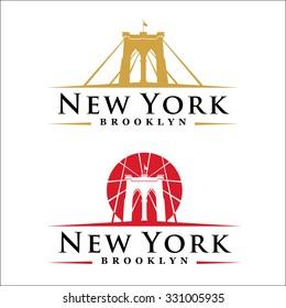 New York symbol - Brooklyn Bridge - vector illustration - graphic design