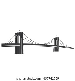 New York symbol - Brooklyn Bridge - vector illustration