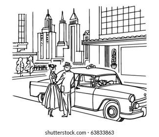 New York Taxi Service - Retro Clipart Illustration