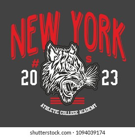 New york tiger graphic design vector art