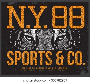new york tiger  t-shirt graphic