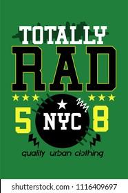 new york totally rad,t-shirt design