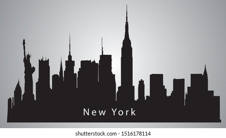 New york travel destination statue of liberty famous silhouette