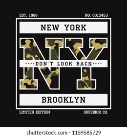 New York t-shirt design with camouflage texture. Brooklyn, NY typography graphics for tee shirt with slogan. Apparel print in military and army style. Vector illustration.