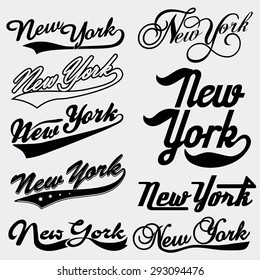 New York typography Handmade Writing set. T-shirt lettering emblem collection, New York College T-shirt design print, New York City Typography Graphics, New-York  College jersey print USA vector art