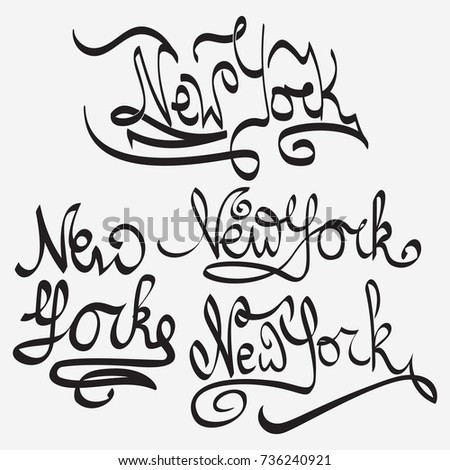 New York Typography Handmade Writing Set Stock Vector Royalty Free