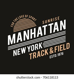 New York typography for t-shirt print. Track and field, athletic t-shirt graphics. Vector