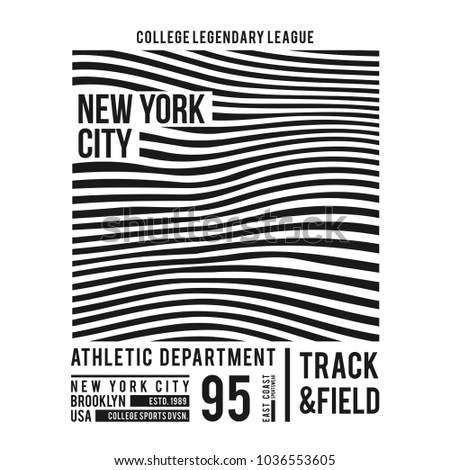 7c33ef95a6ab New York typography for t-shirt print. Abstract lines with text for modern  tee shirt graphics in varsity style. Vector - Vector