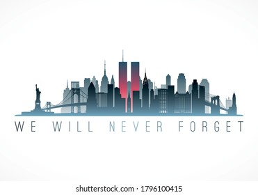 New York, USA - August 14, 2020: Patriot Day banner. September 11, 2001 National Day of Remembrance. Vector illustration.