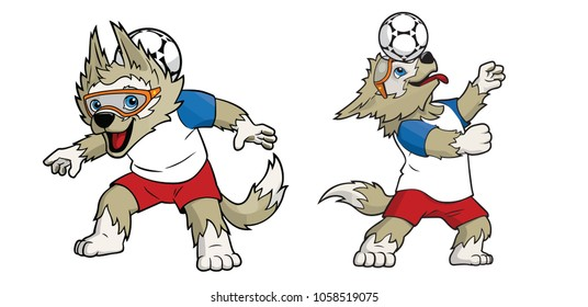 New York, USA : February 15 2018: Zabivaka: Russia 2018 World Cup Mascot printed on white paper.