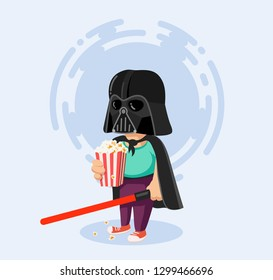 New York, USA - JULY 12, 2018: Darth Vader helmet vector illustration for kids. Star Wars Dark costume and lightsaber.