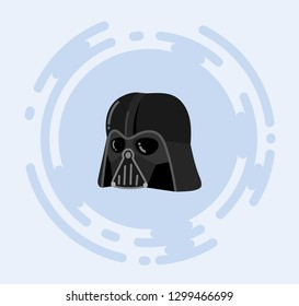 New York, USA - JULY 12, 2018: Darth Vader helmet vector illustration for kids. Star Wars Dark costume.