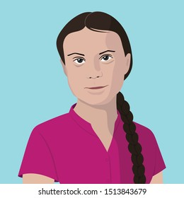New York, USA - September 23, 2019: Greta Thunberg, the teenage environmental activist, in pink shirt and braided ponytail for UN speech.