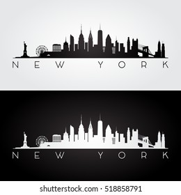 New York USA skyline and landmarks silhouette, black and white design, vector illustration.