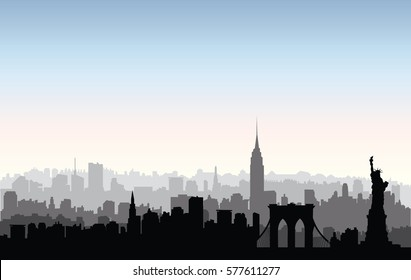 New York, USA skyline. NYC city silhouette with Liberty monument. American landmarks. Urban  architectural landscape. Cityscape with famous buildings