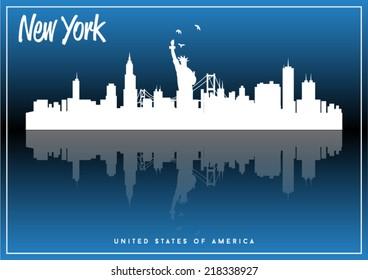 New York, USA skyline silhouette vector design on parliament blue background.