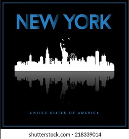 New York, USA skyline silhouette vector design on black background.