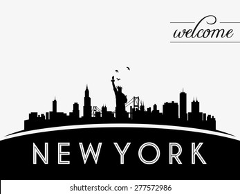 New York USA skyline silhouette, black and white design, vector illustration
