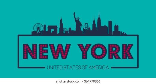 New York USA Skyline silhouette plate vector design