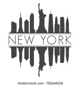 New York USA Skyline Vector Art Mirror Silhouette Emblematic Buildings