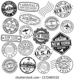 New York USA Stamp Vector Art Postal Passport Travel Design Set