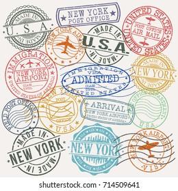 New York USA Stamp Vector Art Symbol Design
