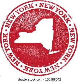New York USA State Stamp