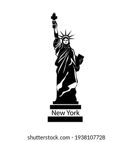New York, USA. The Statue of Liberty. Vector Illustration , black silhouette.