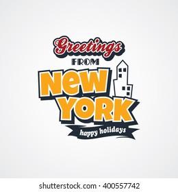 new york vacation greetings theme vector art illustration