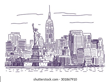 New York vector drawing