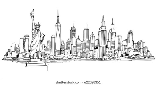 Line Drawing New York City Skyline : City skyline drawing images stock photos vectors