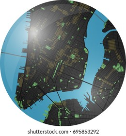 New York vector map with dark colors.
