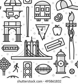 New York, vector outline background, seamless pattern: traffic light, Brooklyn Bridge, clock, hot dog, arc, shop, baseball, apple, pizza, train, arrow, rugby, hydrant, Statue of Liberty