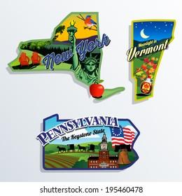 New York, Vermont and Pennsylvania scenic vector illustrations