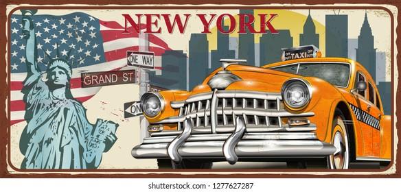New York vintage metal sign, vector illustration.