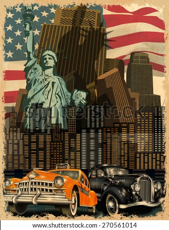 fd17b42b687 New York Vintage Poster Stock Vector (Royalty Free) 270561014 ...