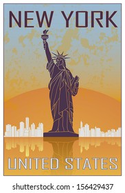 New York vintage poster in orange and blue textured background with skyline in white
