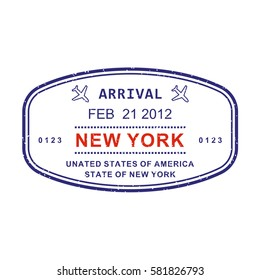 New York visa or arrival stamp from passport isolated on white background. New York travel stamp. Vector illustration.