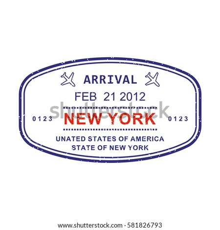 New York Visa Or Arrival Stamp From Passport Isolated On White Background Travel