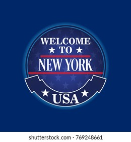 New York Welcome Sign , USA City , State