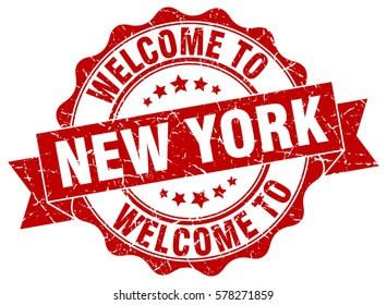 New York. Welcome to New York stamp