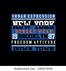 new york,brooklyn street wear tee element graphic t shirt print vector illustration design
